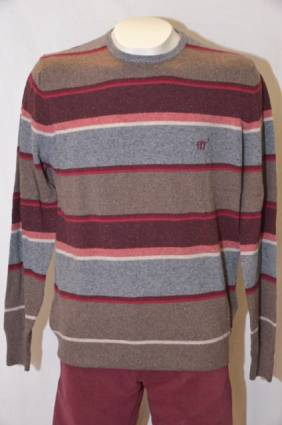 Henry Cotton's neule, Koko: XL, Väri: harmaa / ruskea / punainen melange